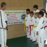 Instructor Mr Dieben teaching core Taekwondo values